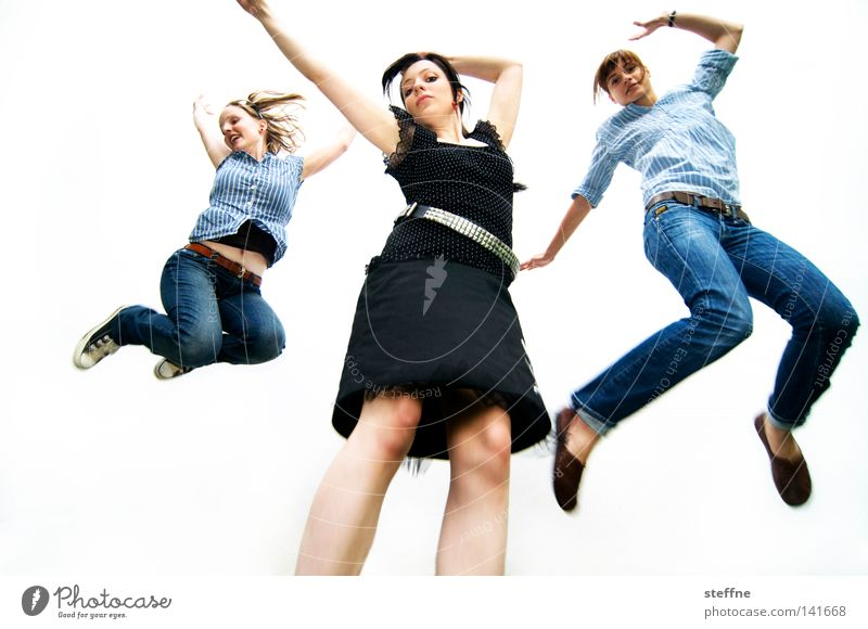 Skier Lieders [Weimar 2008] Cheerleader Applaus springen Frau hüpfen Ausgelassenheit Freude Körperhaltung Bekleidung Mode Rock 'n' Roll Rockmusik Jeanshose