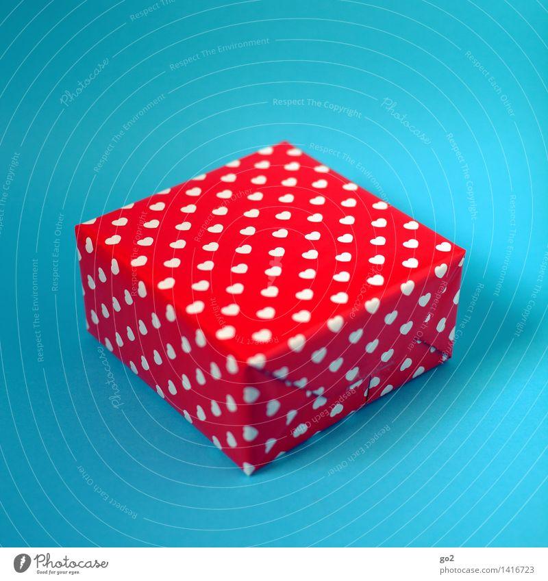 Bitte. Danke. Valentinstag Muttertag Weihnachten & Advent Hochzeit Geburtstag Verpackung Paket Geschenk Geschenkpapier Herz ästhetisch blau rot Lebensfreude