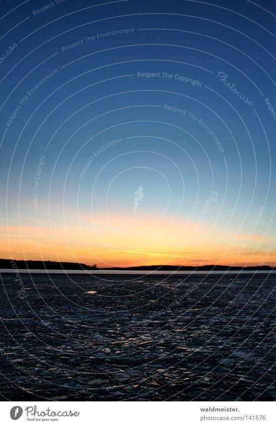 Binnenmüritz im Winter Wasser Himmel ruhig kalt See Eis Abenddämmerung Gewässer Eisscholle Müritz