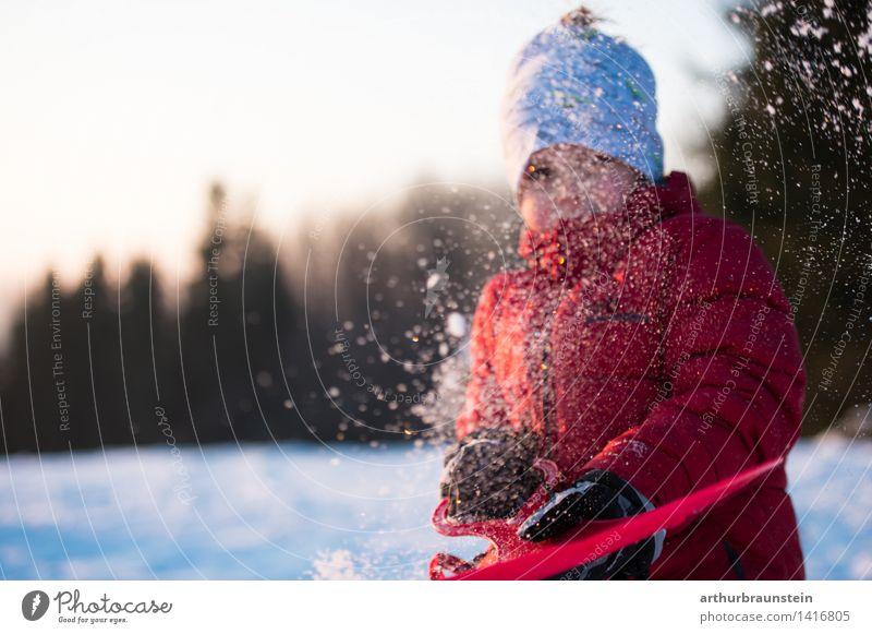 Bobfahren im Winter Mensch Kind Natur Ferien & Urlaub & Reisen weiß rot Freude kalt Umwelt Schnee Junge Spielen Familie & Verwandtschaft Lifestyle maskulin