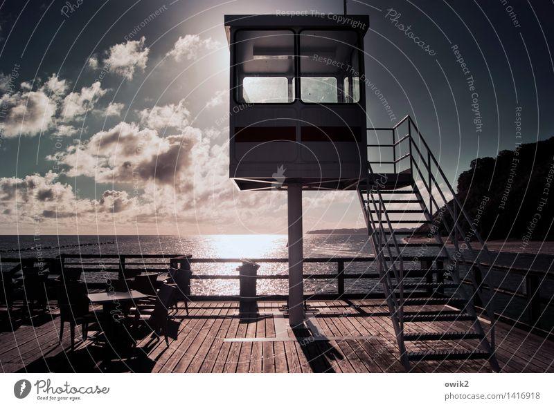 VIP-Lounge Himmel Wasser Landschaft Wolken Ferne Umwelt Küste Holz oben Metall Horizont glänzend leuchten Tisch groß Klima