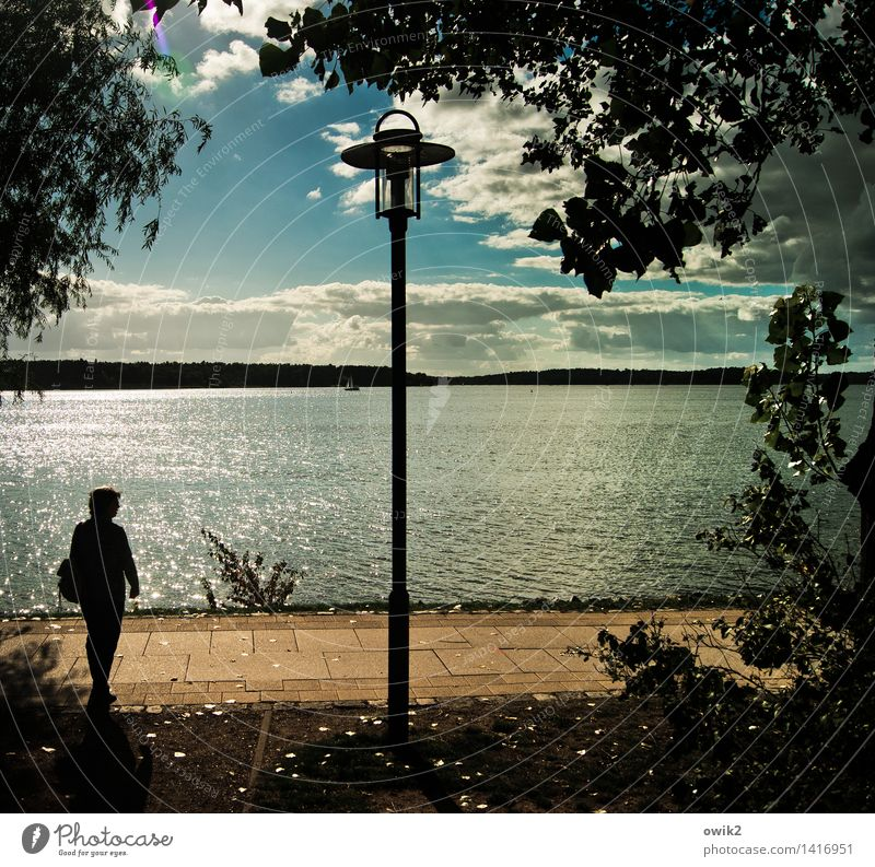 Einleuchtend Mensch Frau Himmel Natur Wasser Erholung Landschaft ruhig Wolken Ferne Erwachsene Umwelt See gehen Horizont Zufriedenheit