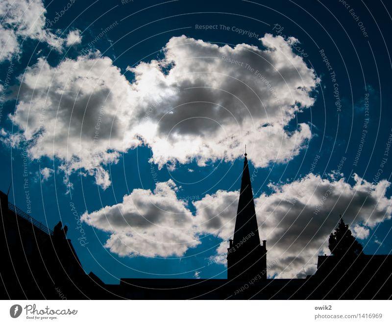 Spitzdach Himmel Stadt Wolken Gebäude Religion & Glaube Deutschland oben Horizont groß hoch Zukunft Spitze Kirche Schönes Wetter Dach Ewigkeit
