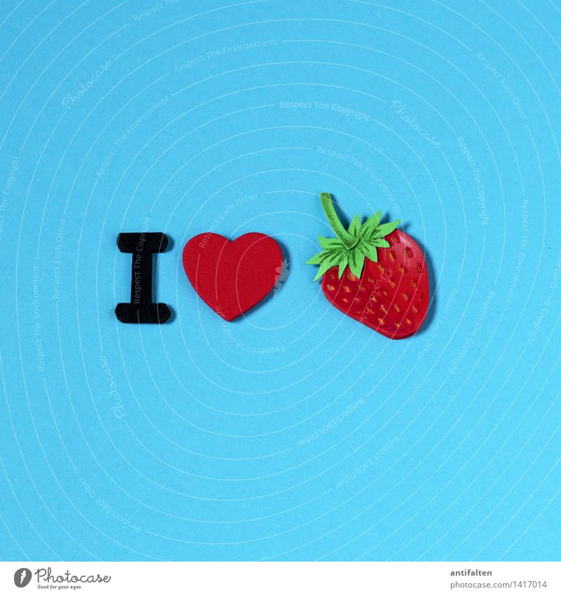 I <3 strawberries Lebensmittel Frucht Erdbeeren Ernährung Essen Frühstück Freizeit & Hobby Handarbeit Basteln malen Sommer Zeichen Schriftzeichen Herz niedlich