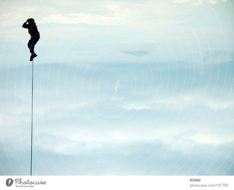hängt ihn hoch Himmel Freude Wolken Klettern Erholung oben Freiheit Luft fliegen frei Seil Luftverkehr festhalten Verbindung leicht
