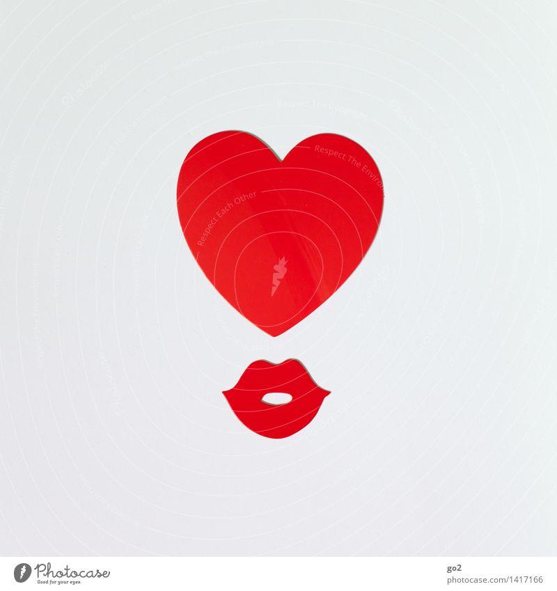 Herz und Mund weiß rot Erotik Liebe Gefühle Glück Zusammensein Freundschaft Geburtstag ästhetisch Lebensfreude Papier Romantik Zeichen