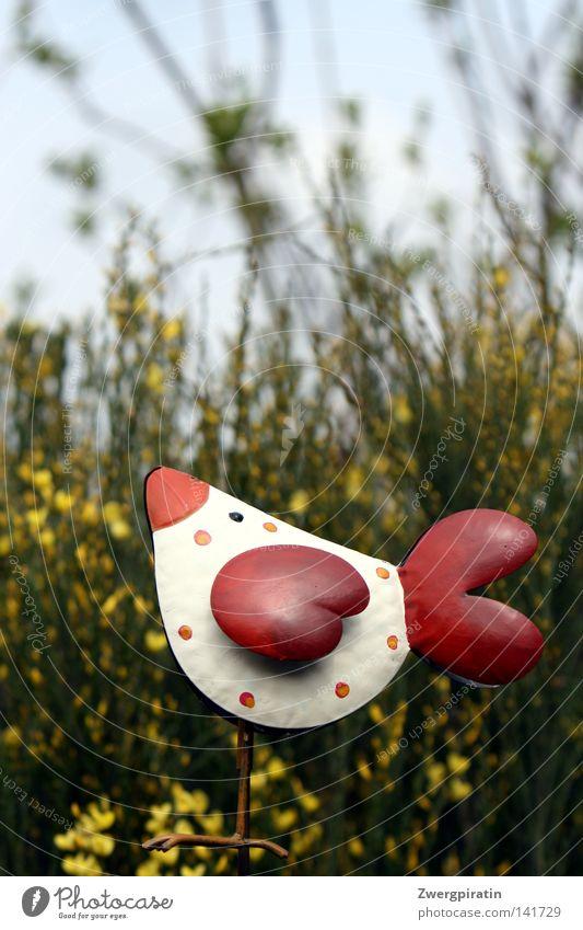 Tupfenhuhn im Ginsterbusch Haushuhn rot weiß Fleck Punkt Kreis Garten Sträucher grün Himmel blau Flügel Metall Kunst Fröhlichkeit Blüte Blume Sommer