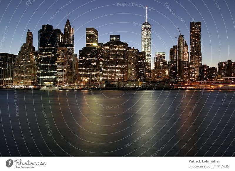 Lower Manhattan New York Ferien & Urlaub & Reisen Tourismus Sightseeing Städtereise Büro Umwelt Landschaft Wasser Nachthimmel Flussufer East River New York City