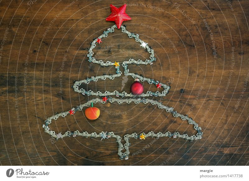 Kettensägen- Weihnachtsbaum Weihnachten & Advent Holz Feste & Feiern Metall Häusliches Leben Freizeit & Hobby Technik & Technologie Stern (Symbol) Postkarte