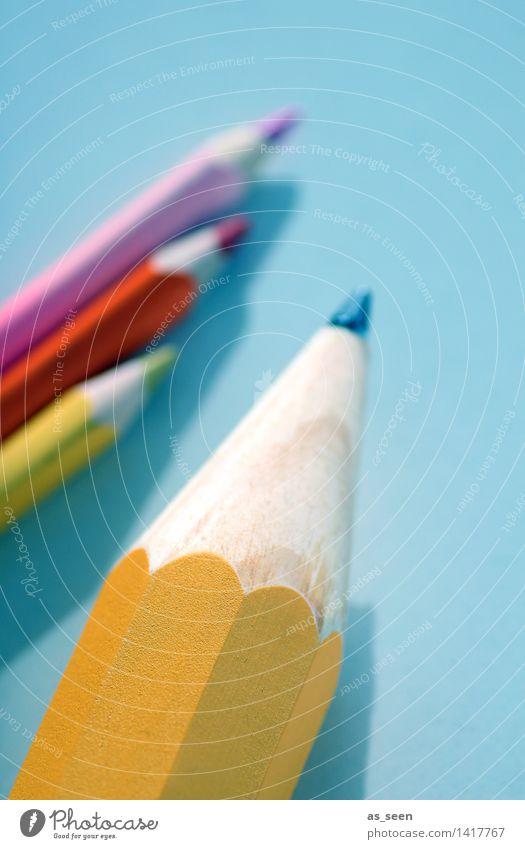 Auf den Punkt kommen blau Farbe gelb Leben außergewöhnlich Schule hell rosa Büro ästhetisch Kreativität lernen Spitze Grafik u. Illustration Bildung schreiben