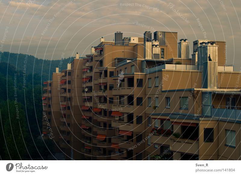 Plattenbau Neuenhof Schweiz Europa Stadtrand Haus Gebäude trist Wohnhochhaus Standard Ödland Farbfoto Außenaufnahme Morgendämmerung Sonnenaufgang