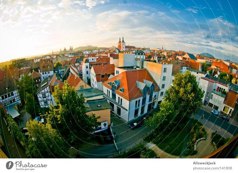 addicted to Fulda Landkreis Fulda Panorama (Aussicht) Fischauge Hessen Himmel Sonnenuntergang Dach Wolken Sommer Deutschland