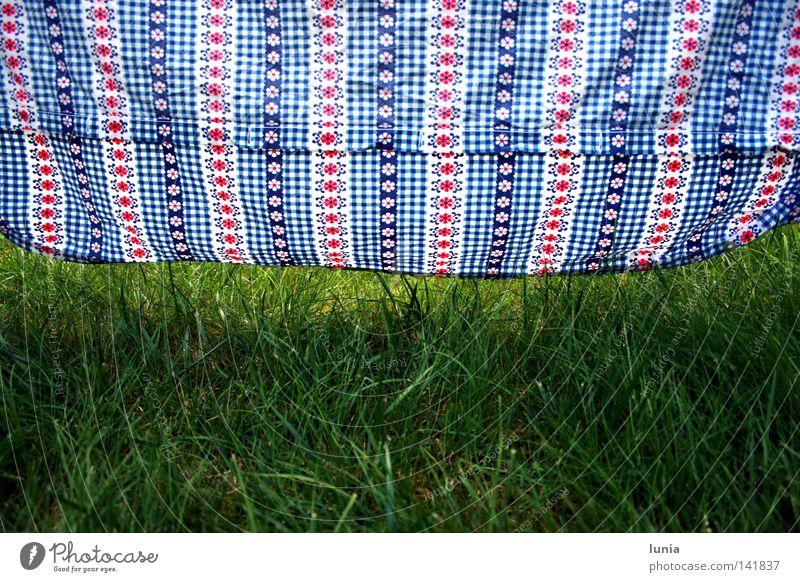 Locker hängen lassen weiß Blume grün blau rot Wiese Gras Rasen hängen Haushalt kariert trocknen aufhängen Bettwäsche