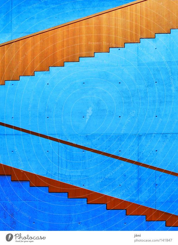 Hoch oder runter....das ist die Frage. Himmel Natur blau schön ruhig Ferne kalt Architektur Stil Gebäude Holz Kunst Stein Linie oben Arbeit & Erwerbstätigkeit