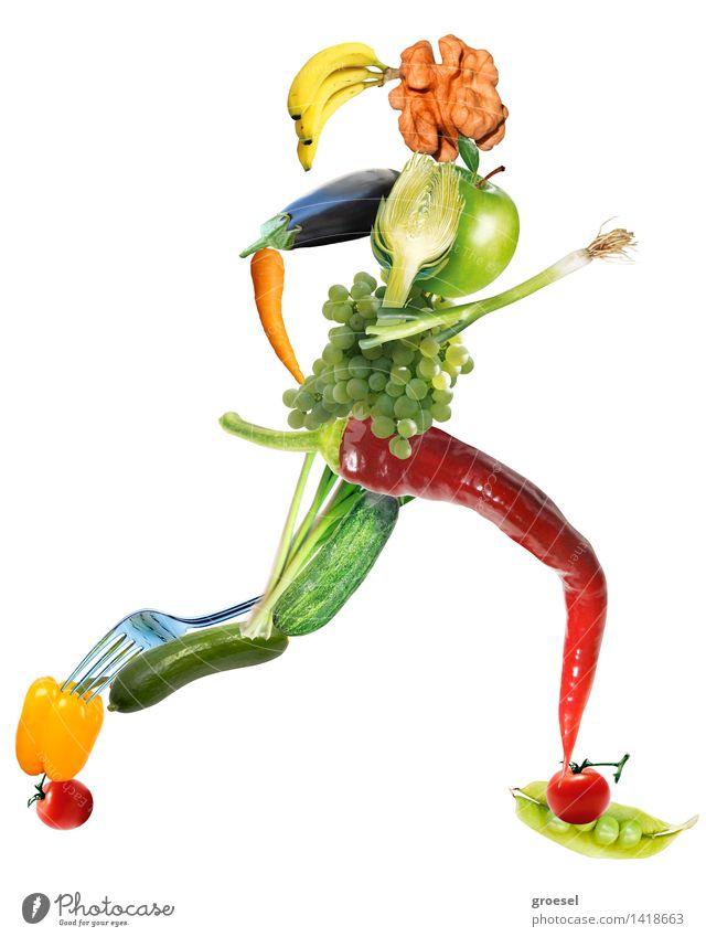 Veggie-sprinter-sie Körper Joggen feminin Diät Bewegung Fitness Sport ästhetisch selbstbewußt Gesunde Ernährung mehrfarbig
