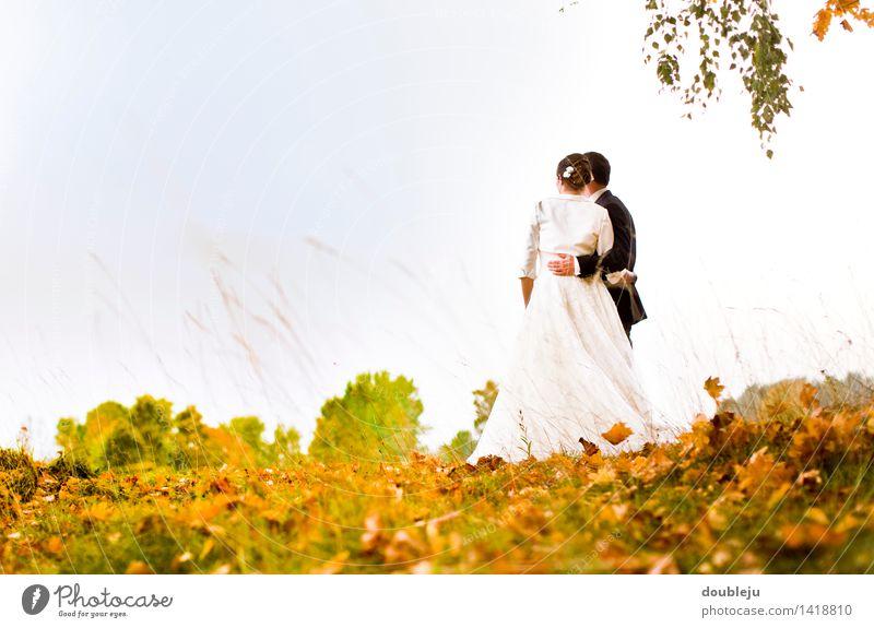 hochzeit im herbst maskulin feminin 2 Mensch 18-30 Jahre Jugendliche Erwachsene 30-45 Jahre stehen träumen mann frau heiraten herbstlich zuversichtlich freude