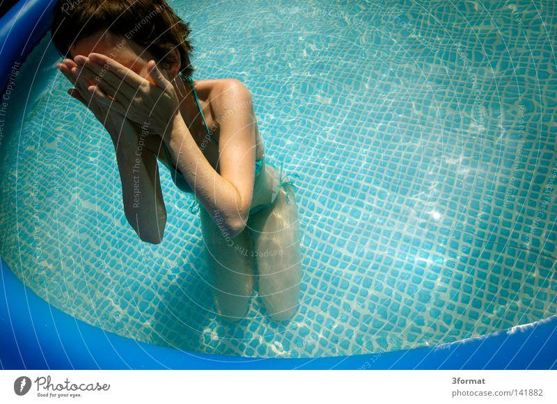badetag Frau Mensch Himmel blau Wasser grün Ferien & Urlaub & Reisen Sommer Freude Wolken Gesicht kalt Graffiti Freiheit nackt Wärme