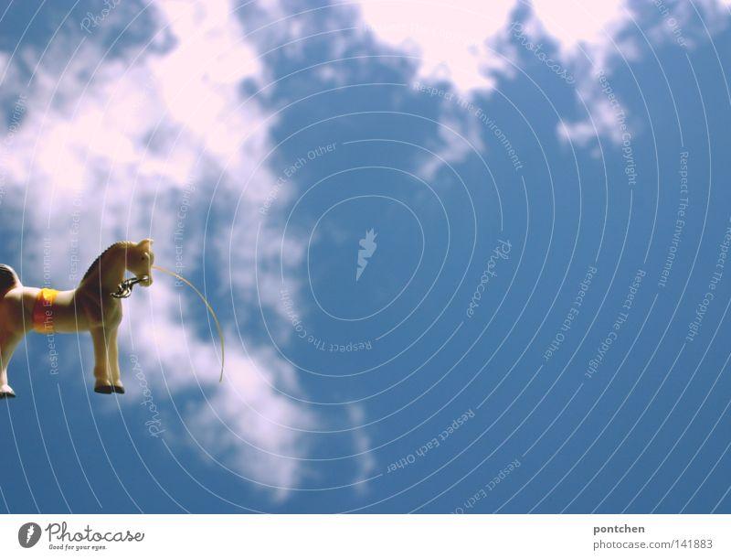 Ein spielzeugpferd aus Plastik vor bewölktem blauen Himmel Tier Pferd Dekoration & Verzierung Kitsch Krimskrams Schmuckanhänger Spielzeug Außenaufnahme Wolken