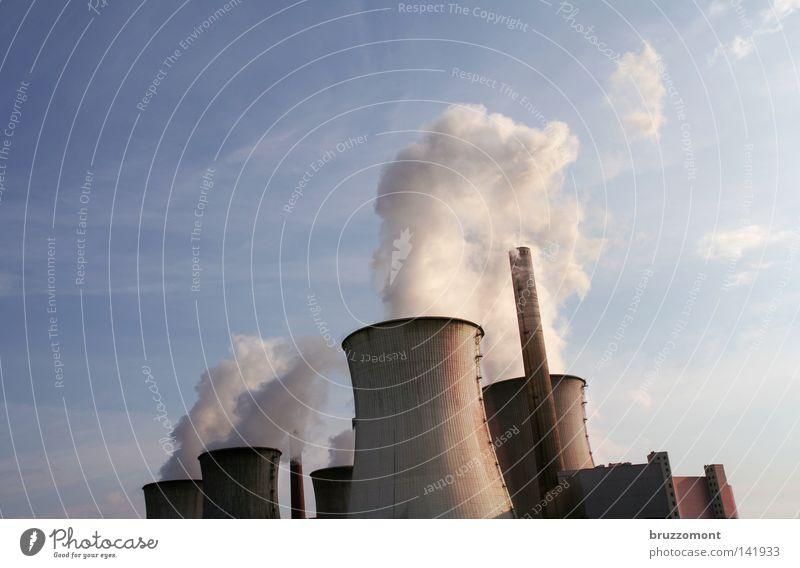 Volldampf Voraus Stromkraftwerke Elektrizität Hochspannungsleitung Umweltverschmutzung Wasserdampf Kernkraftwerk Erneuerbare Energie Industriefotografie