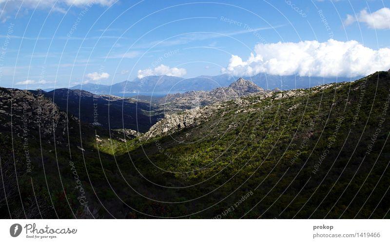 Landschaft Umwelt Natur Himmel Wolken Sonnenlicht Sommer Klima Schönes Wetter Wald Hügel Berge u. Gebirge Küste Bucht Wärme Ferien & Urlaub & Reisen Freiheit