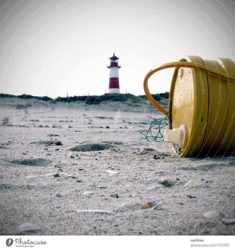 Nordseeöl weiß Meer rot Strand gelb Umwelt Küste Sand rund Stranddüne Leuchtturm Sandstrand Erdöl gestreift Umweltverschmutzung
