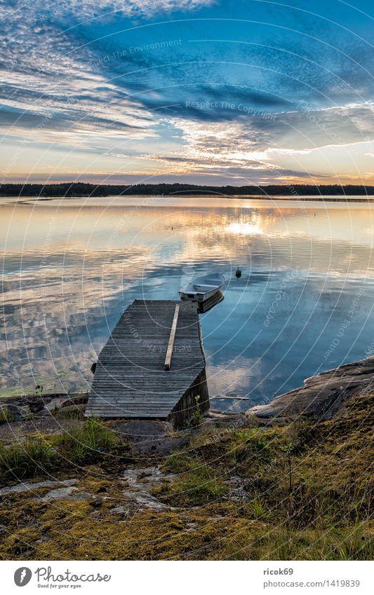 Schärengarten an der schwedischen Küste Erholung Ferien & Urlaub & Reisen Tourismus Insel Natur Landschaft Wolken Baum Ostsee blau Schweden Lidingö Steg