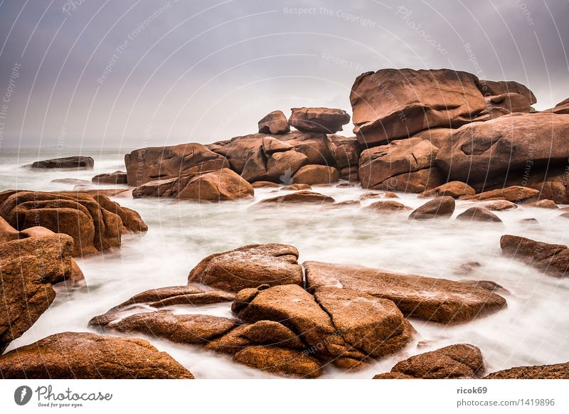 Atlantikküste in der Bretagne Natur Ferien & Urlaub & Reisen Erholung Meer Landschaft Küste Stein Felsen Tourismus Sehenswürdigkeit Frankreich Granit Attraktion