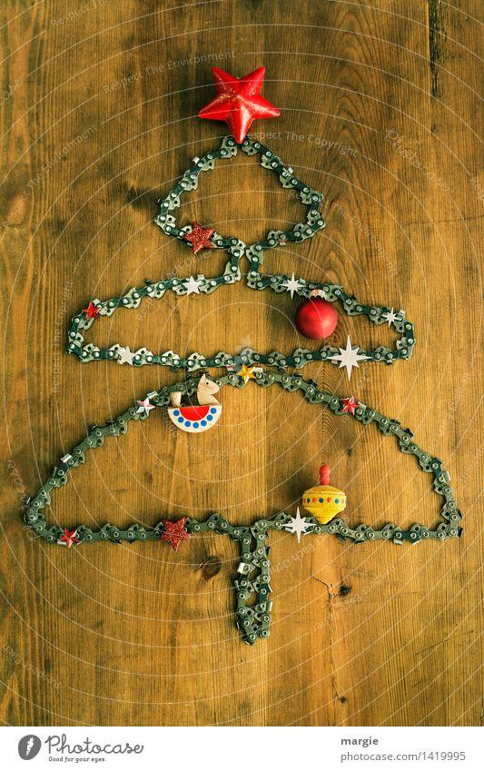Kettensägen-Weihnachtsbaum für Holzfäller Weihnachten & Advent rot Feste & Feiern braun Metall Technik & Technologie Stern (Symbol) Postkarte Frieden Beruf