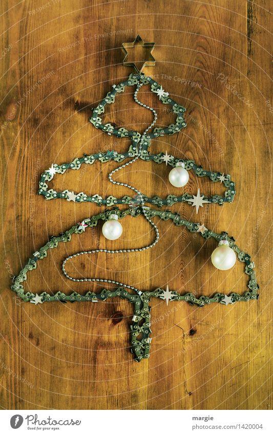 Kettensägen-Weihnachtsbaum für Waldarbeiter Weihnachten & Advent weiß Holz Feste & Feiern braun Freizeit & Hobby Dekoration & Verzierung Glas