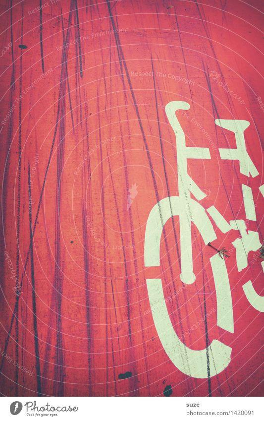 Quereinsteiger Stadt rot Straße Bewegung Linie dreckig Verkehr Fahrrad Schilder & Markierungen Schriftzeichen Fahrradfahren Zeichen Grafik u. Illustration Streifen Sicherheit Fahrradtour
