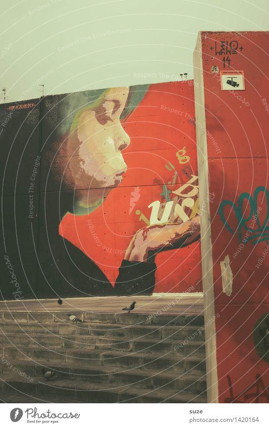 Das Wort lernt fliegen Stadt Wand Graffiti Gefühle Stil Gebäude Kunst Lifestyle Fassade Design Treppe Kreativität Kommunizieren Lebensfreude Kultur Jugendkultur