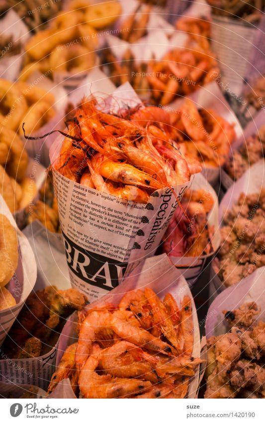 Shrimps to go Lebensmittel Meeresfrüchte Ernährung Essen Fastfood Asiatische Küche Gesunde Ernährung Tier exotisch frisch Barcelona Garnelen Meerestier Tüte