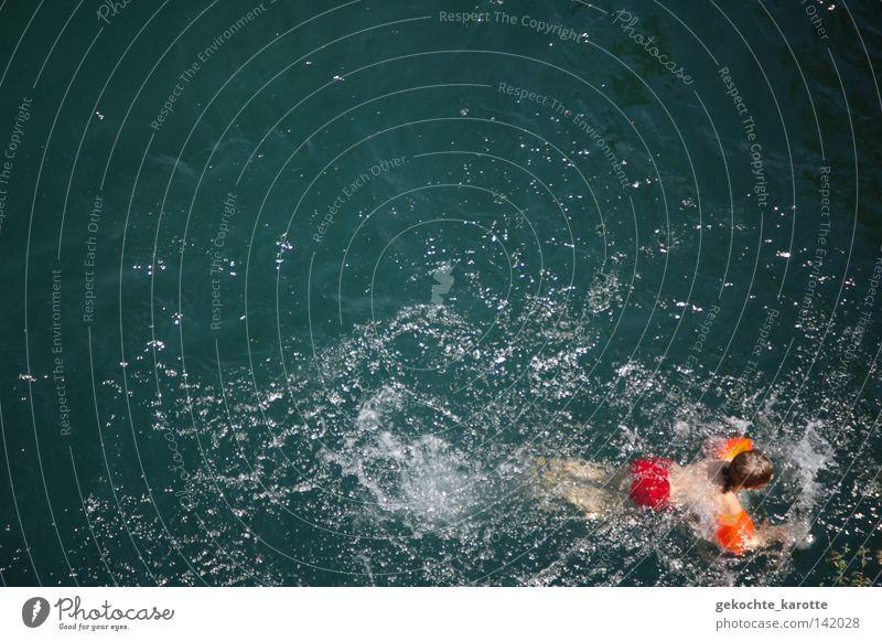 badetag Schwimmhilfe Schwimmen & Baden Junge Kind Wasser Fluss rot orange Wassersport