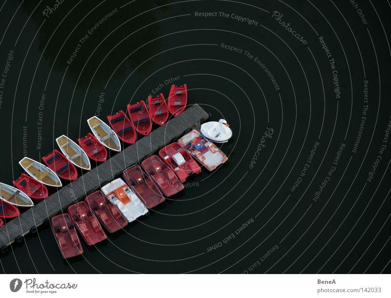 Schifferl fahren Wasserfahrzeug Ruderboot Tretboot treten Steg Holz Holzbrett Vogelperspektive Olympia See Olympiade Olympiapark Olympiaturm München Park Linie