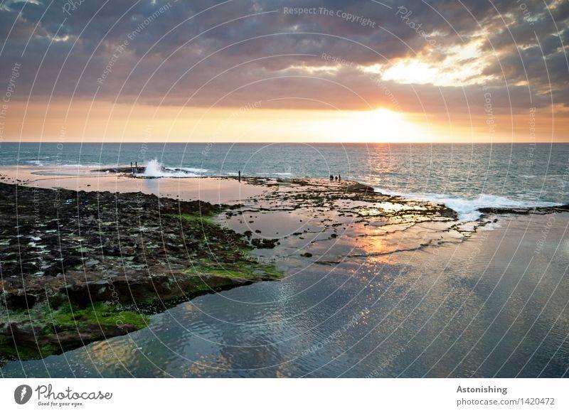 gleich... Mensch Menschengruppe Umwelt Natur Landschaft Wasser Himmel Wolken Horizont Sonne Sonnenaufgang Sonnenuntergang Sonnenlicht Sommer Wetter