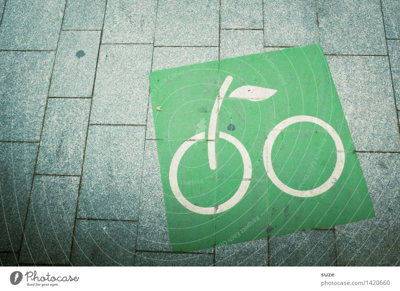 Prima Klima | unterwegs grün Umwelt Fahrrad Platz Fahrradfahren Zeichen Fußweg Fahrradtour Symbole & Metaphern Barcelona umweltfreundlich Fahrradweg
