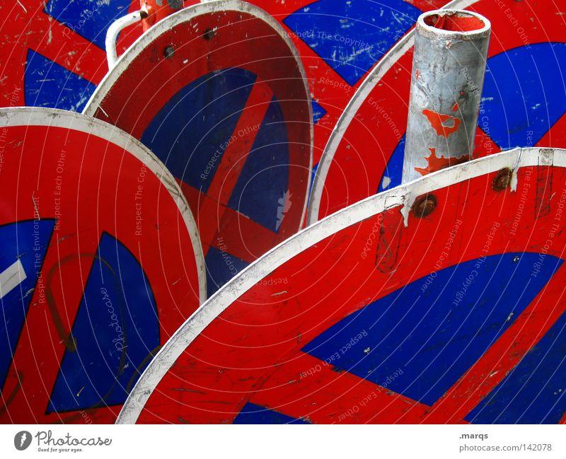 ABSOLUTES Halteverbot blau rot Schilder & Markierungen Verkehr Hinweisschild Symbole & Metaphern stoppen Zeichen parken Gesetze und Verordnungen Regel
