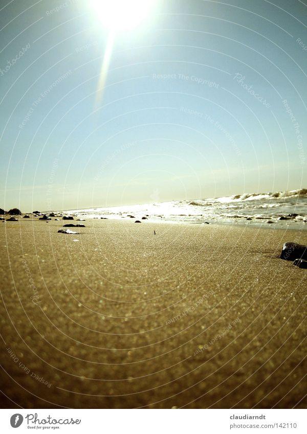 Meeresrauschen Himmel Natur Wasser Ferien & Urlaub & Reisen Sonne Sommer Strand Erholung Wärme Küste Sand Stein hell Horizont Wellen