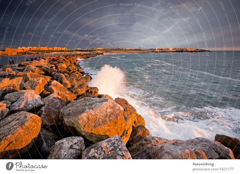 steinige Linie Umwelt Natur Wasser Himmel Wolken Gewitterwolken Nachthimmel Horizont Sonnenaufgang Sonnenuntergang Sommer Wetter Schönes Wetter Felsen Wellen