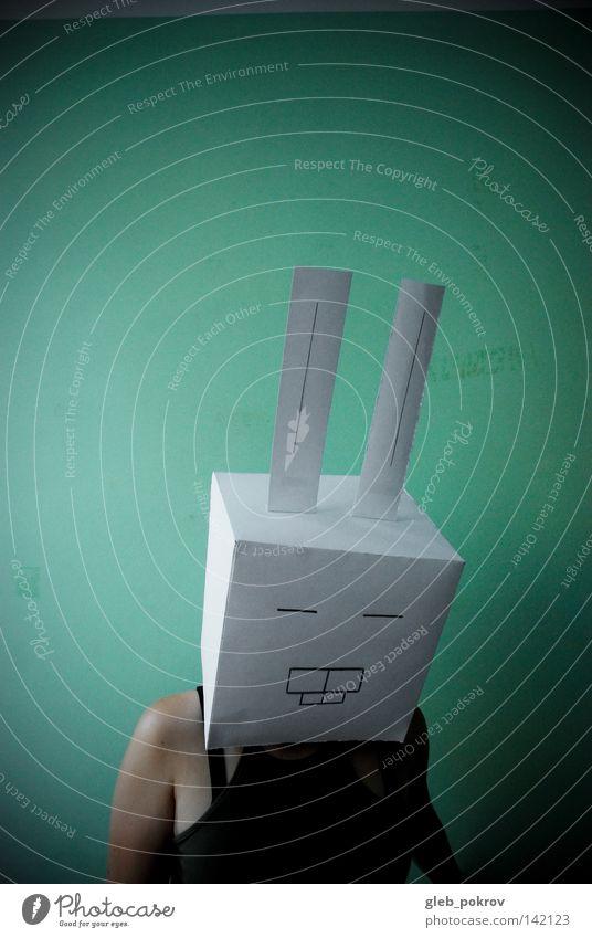 Alfraim - der gegessene Hase. Tiergesicht Ohr Hase & Kaninchen Hasenohren Osterhase verkleiden verkleidet Kostüm Maske Freisteller Vor hellem Hintergrund lustig