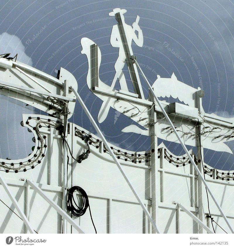 HH08.2 - Other Side Of Life Himmel blau Holz Kabel Jahrmarkt Konstruktion Stab Kulisse Halterung Gondoliere