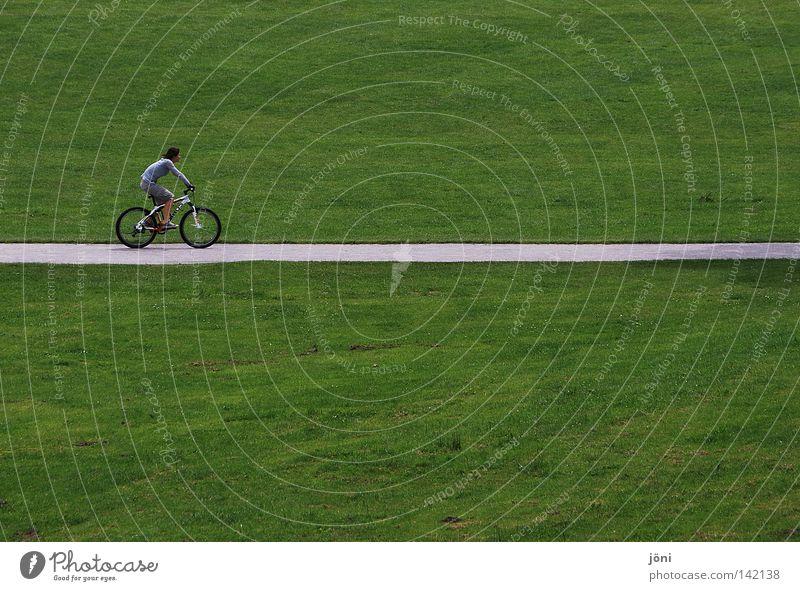 Radfahrer auf dem Strich grün Erholung Glätte einheitlich gepflegt Rasen Rasenmäher Pflanze Reifezeit rund Geschwindigkeit Park Freizeit & Hobby Zufriedenheit