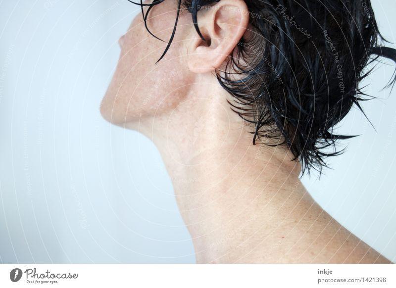 ( Mensch Frau nackt schön Erwachsene Leben Lifestyle Haare & Frisuren Schwimmen & Baden Kopf Körper Haut nass Sauberkeit Körperpflege schwarzhaarig