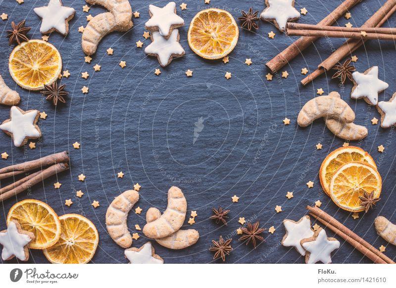 Weihnachtszeit ist Kekse-Zeit blau Weihnachten & Advent Lebensmittel orange Frucht Ernährung Stern süß Kräuter & Gewürze lecker Süßwaren Backwaren Teigwaren getrocknet Keks Weihnachtsgebäck