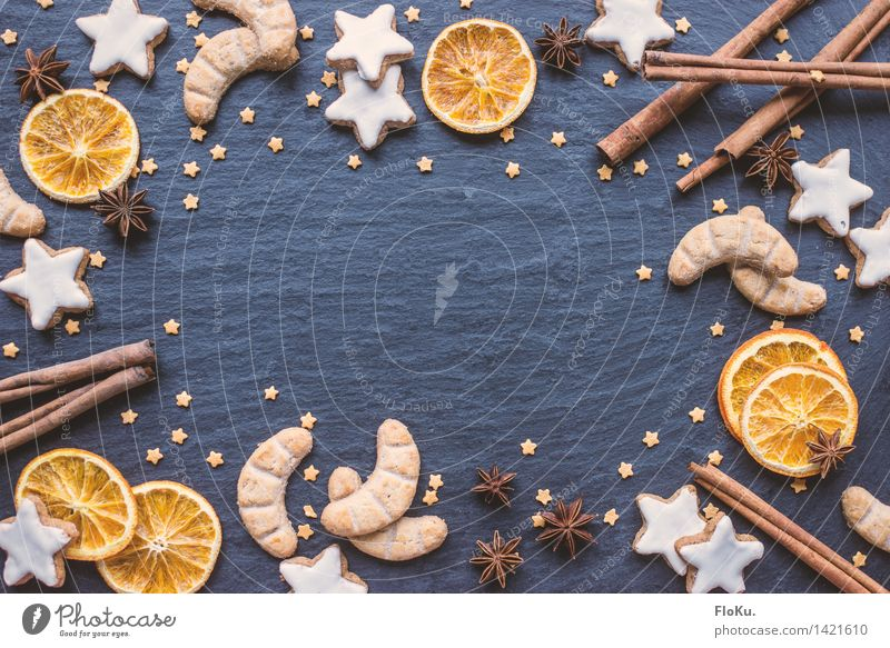Weihnachtszeit ist Kekse-Zeit blau Weihnachten & Advent Lebensmittel orange Frucht Ernährung Stern süß Kräuter & Gewürze lecker Süßwaren Backwaren Teigwaren