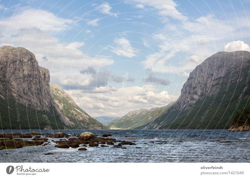 Norwegen X - Tysdalsvatnet Himmel Natur Ferien & Urlaub & Reisen schön Landschaft Wolken Ferne Strand Wald Berge u. Gebirge Umwelt Küste Freiheit See Felsen
