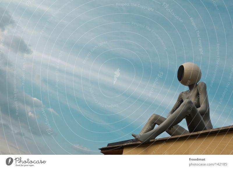 kopfstimme Dinge Wolken Kopfhörer Lautsprecher Schaufensterpuppe Aussicht Kunst diagonal Frau Techno Publikum Symbole & Metaphern Erholung lässig nackt Sommer