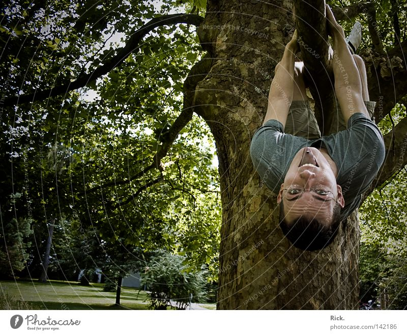 .Mal wieder richtig schön abhängen! Mensch Himmel Mann Jugendliche alt blau Hand grün Baum Freude Blatt Farbe Gesicht Wald Erholung gelb