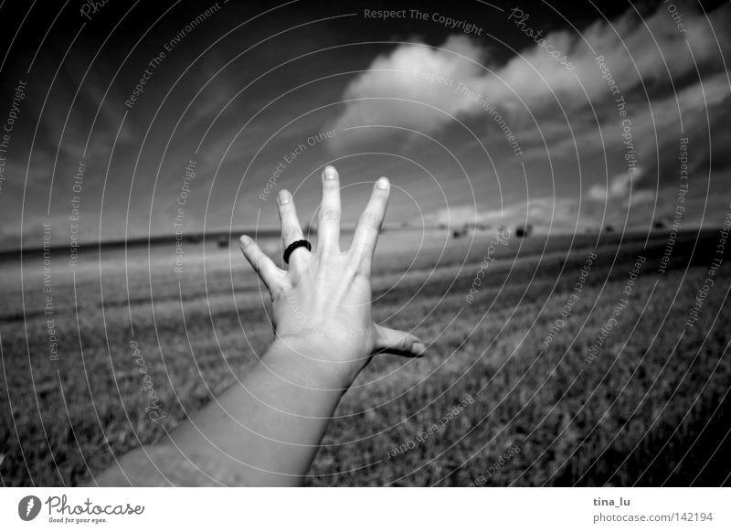 fernweh Mensch Hand Himmel weiß schwarz Wolken Ferne Freiheit Arme Wetter frei Finger Sehnsucht Getreide fangen Fernweh