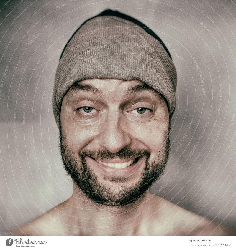 Dope Mensch maskulin Junger Mann Jugendliche Erwachsene 1 30-45 Jahre Künstler Mütze Dreitagebart Vollbart beobachten Erholung authentisch außergewöhnlich Glück